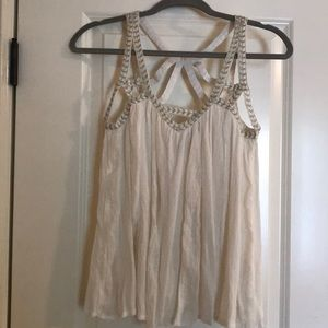 Anthropologie white with gold detail tank top